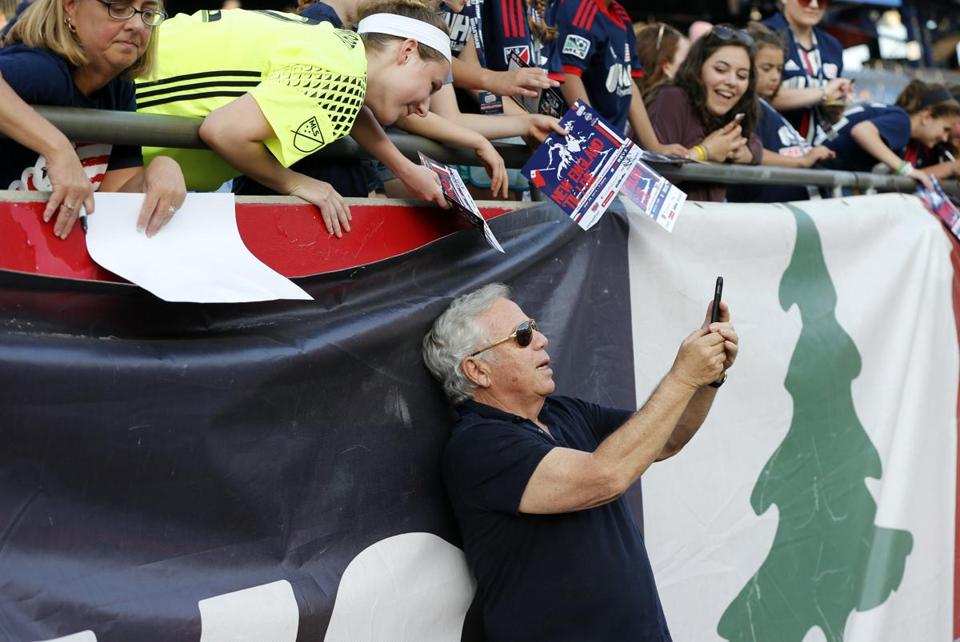 Team owner Robert Kraft took a selfie with Revolution fans before a 2016 game. The Revolution now share Gillette Stadium with the Patriots.